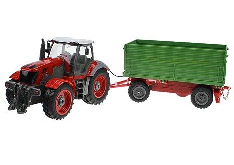 Hugine 6 Canal 4 Rueda Camión Control Remoto Farm Tractor con Remolque Verde
