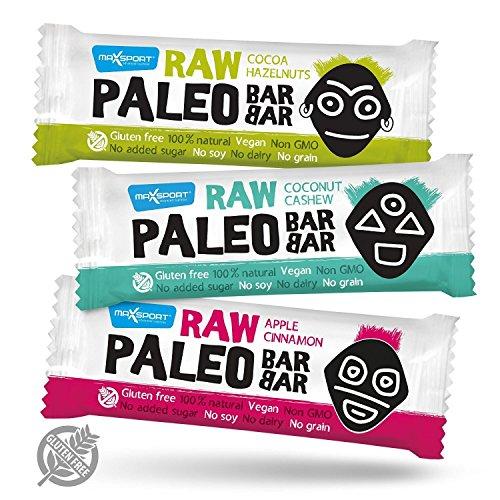Maxsport Nutrition Raw Energy Riegel Rohkost Riegel Mix 20 Stück - Roh Paleo Vegan Glutenfrei Superfood Rohkost Riegel - 50g x 20 Stück (Mix Box)