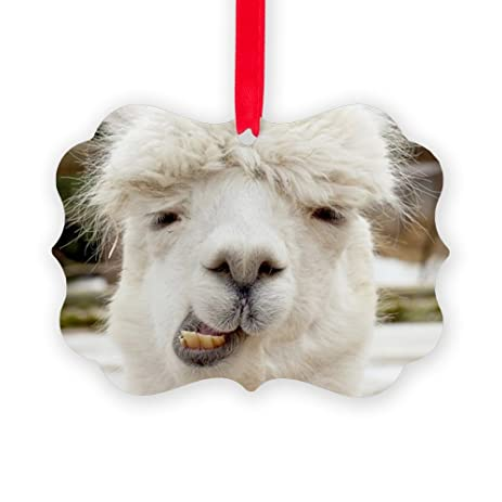 cafepress funny alpaca smile christmas ornament decorative tree ornament - Llama Christmas Decoration