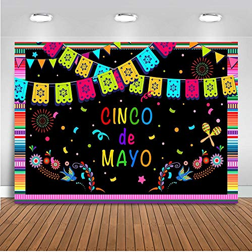 Mocsicka Mexican Fiesta Theme Backdrop 7x5ft Colorful Flags Floral Banner Backgrounds Blooming Fireworks and Stars Photo Backdrop Black Photography ()