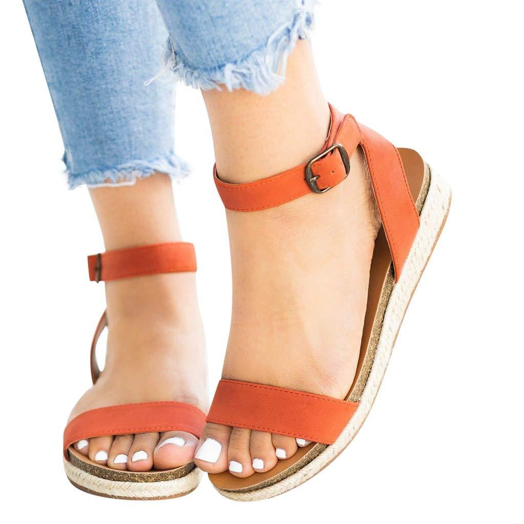 Sandals for Women THENLIAN Striped Woven Ankle Buckle Flatform Wedges Woven Sandals Roman Shoes(41, Orange)