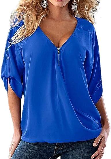 QIYUN.Z Silm Fit para Mujer, Color sólido, Blusa con Cuello en V, Manga Larga, Blusas Casuales, Camisa (Azul Pavo Real XL): Amazon.es: Ropa y accesorios