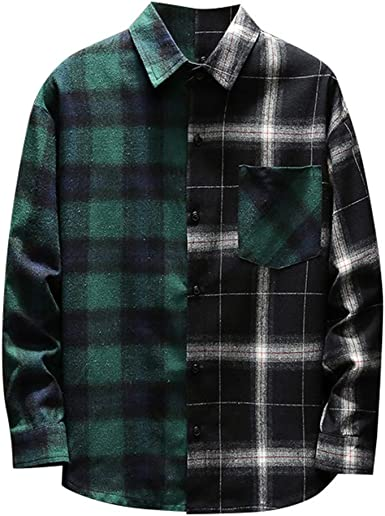 CAOQAO Moda Masculina Camisa a Cuadros Retro Camisa de Manga Larga Camisa cómoda #2: Amazon.es: Ropa y accesorios