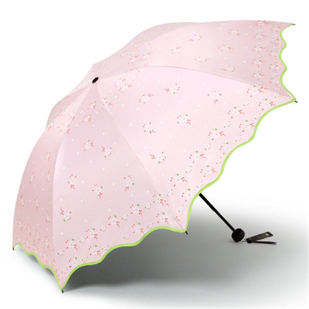Guoke The Black Plastic Super Sunscreen Uv Protection Umbrellas With A Fine Of Two Umbrella Folded, Torn - Flowers - Dandelion - Pink