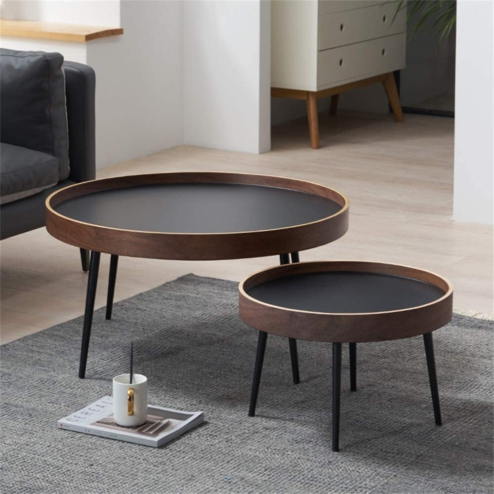 Rustic Coffee Table Round Modern Creative Black Walnut Nesting Tables Solid Wood Nicholas Living Room Small Sofa Table Amazon Co Uk Kitchen Home [ 1000 x 1000 Pixel ]