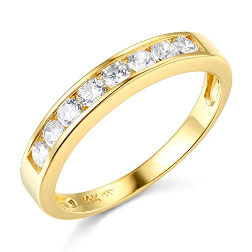 14k Yellow OR White Gold SOLID Channel Set Wedding Band
