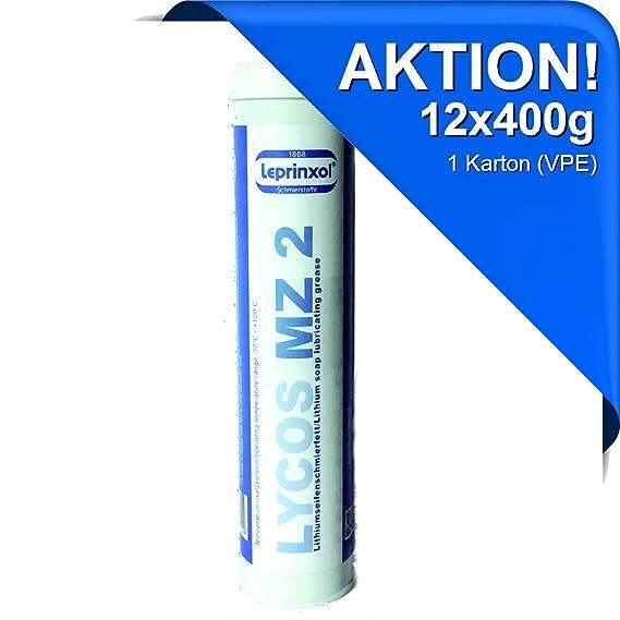Leprinxol 12x LYCOS MZ 2 Lithium MEHRZWECKFETT KARTUSCHE 400g für hochwertige Langzeitschmierung im Kfz-Bereich. Speziell für