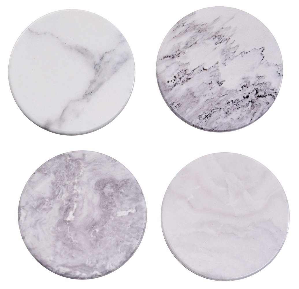 Ceramic Coasters for Drinks,3.6'' Natural Stoneware Coaster Set with Cork Back Marble Style Pack of 4