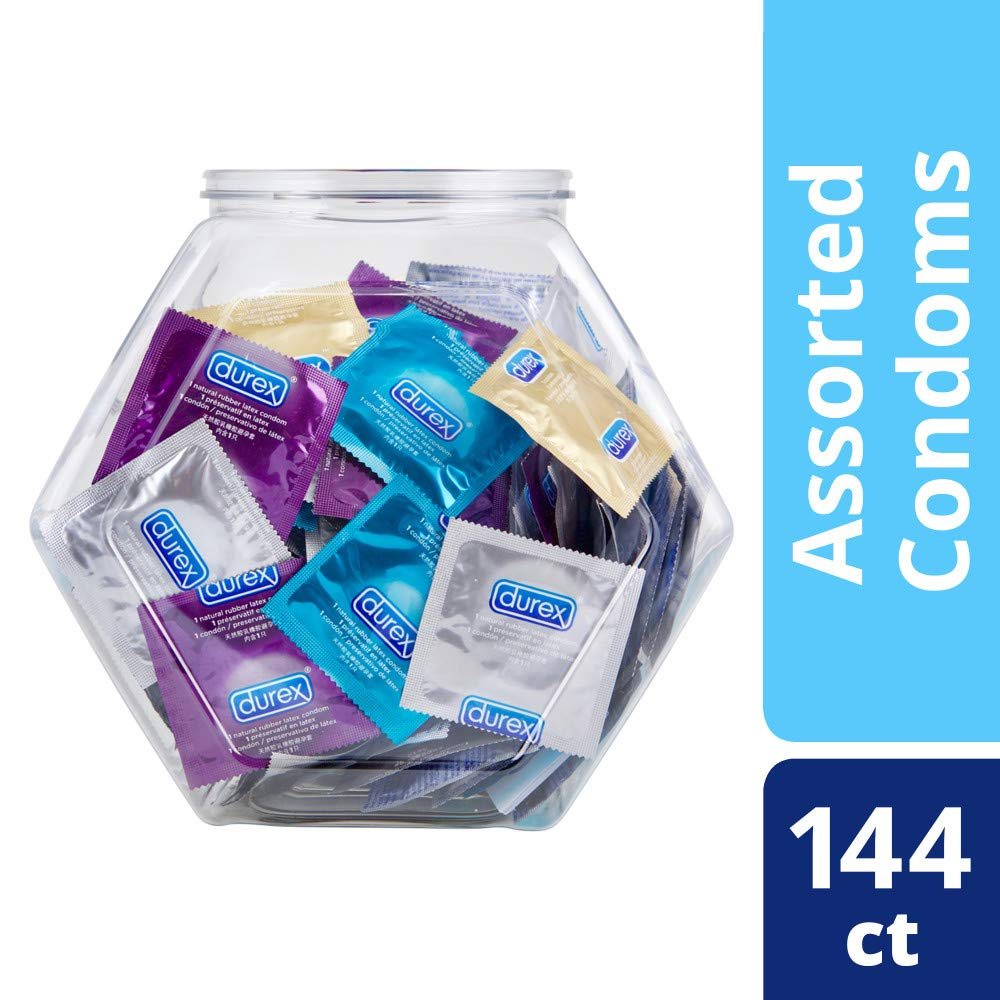 Condoms, Natural Latex, Durex Condom Bulk Variety Fish Bowl 144 Count,  Extra Lubricated, Ultra Fine, Dotted, and Large Male Condoms, HSA Eligible