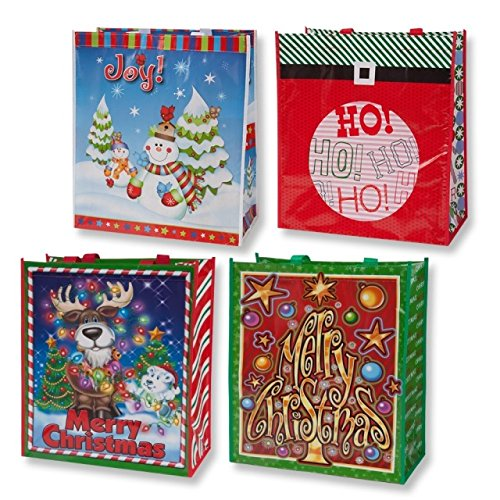 Jumbo Christmas Tote Bags - 12 Pack of Reusable Xmas Gift Bags or Shoppers ()