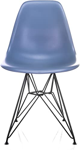 Nature Series Slate Blue DSR Mid-Century Modern Dining Accent Side Chair