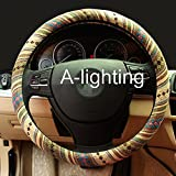 (US) A-Lighting Ethnic Style Coarse Flax Cloth Automotive Steering Wheel Cover Anti Slip and Sweat Absorption Auto Car Wrap Cover - C