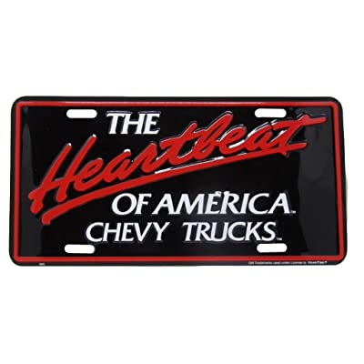 "The Heartbeat Of America Chevy Chevrolet Truck 6""x12"" Aluminum License Plate Tag: Home & Kitchen"