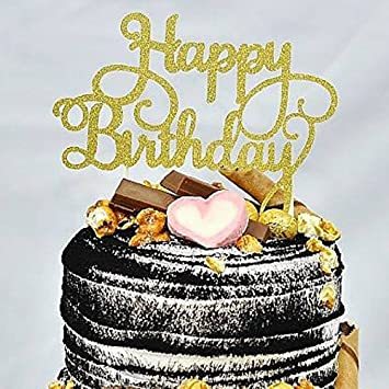 HAPPY BIRTHDAY CAKE PICK TOPPER DECORATION GLITTER CALLIGRAPHY GOLD Amazoncouk Toys Games
