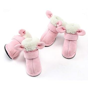BellalueeES Invierno Caliente Grueso Animales Zapatos para Perros Gatos Lindos Zapatos Suaves Animales de Peluche Antideslizantes Botas para la Nieve ...