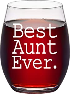 Aunt Wine Glass, Best Aunt Ever Stemless Wine Glass for Women, Aunt, New Aunt - Gift Idea for Birthday, Christmas, Mother's Day, 15Oz