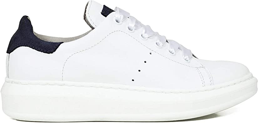 Sneaker Zapatillas Blancas Memory Foam Blanco/Azul: Amazon.es ...