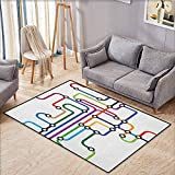 Outdoor Patio Rug,Map,Colorful Abstract Subway Map Lines and Dots Navigation Guide Modern Underground Railway,Anti-Slip Doormat Footpad Machine Washable,4'7'x5'3' Multicolor