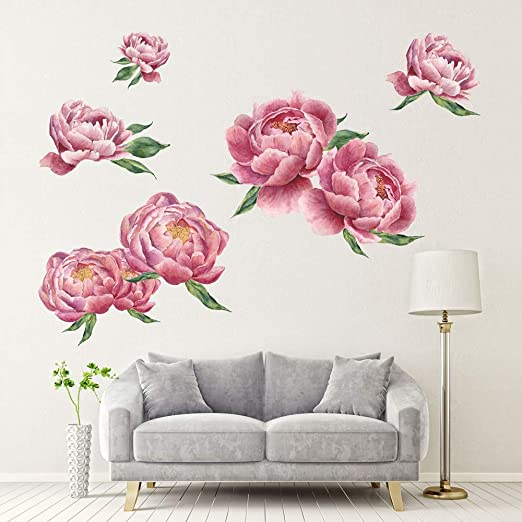 Peony Flowers Wall Sticker PVC Decals Home Decoration Art Living Room Removable