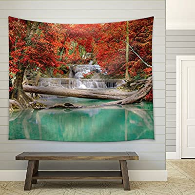 Waterfall Leading to a Teal Lake in a Forest During Fall Time, Premium Creation, Handsome Picture