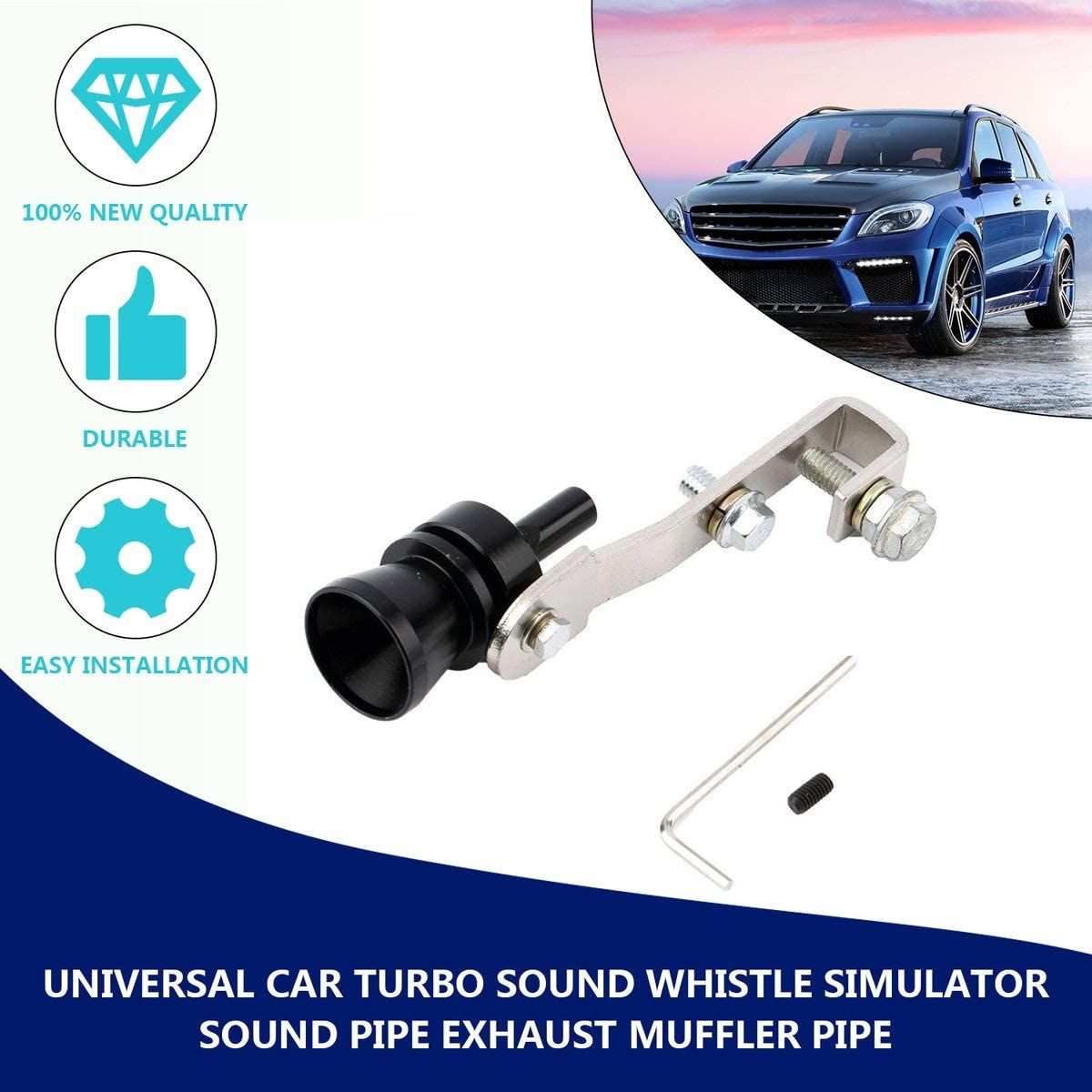 Greatangle Universal Aluminum Cars Auto BOV Turbo Sound Whistle Tube Sound Simulator Tube Exhaust Muffler Pipe Tube