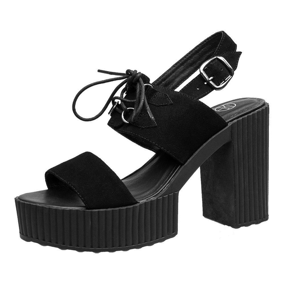 T.U.K. Schuhes Damens's schwarz Schwarz Yuni Heeled Sandale Limited Edition Schwarz schwarz 7e544a
