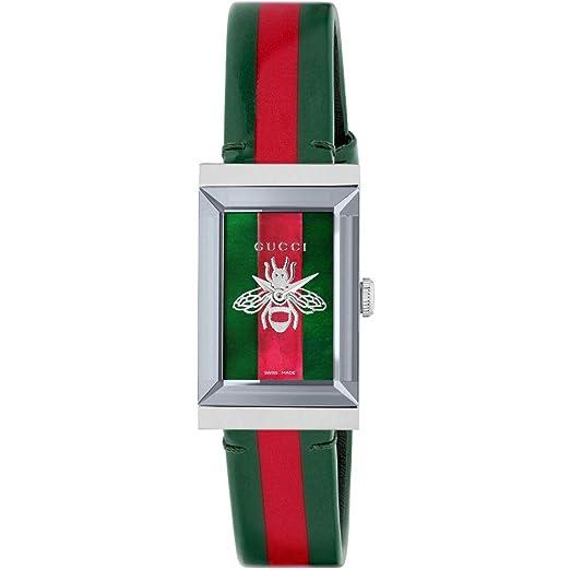 Reloj Gucci de Mujer g-Frame 21x34 mm Trama de la Web y el Rojo YA147408: Amazon.es: Relojes