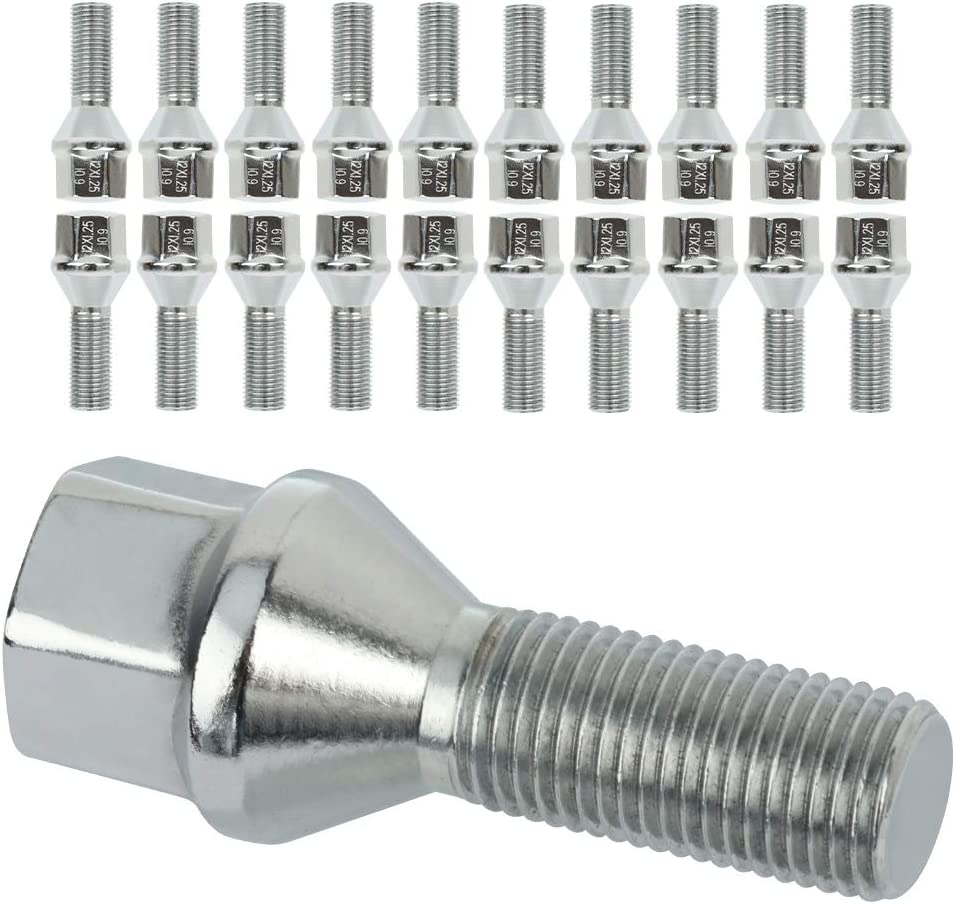 FINDAUTO 12x1.25 28mm 20PCS Silver Wheel Lug Bolts fit for 2017-2019 Jeep Compass 2015-2019 Jeep Renegade