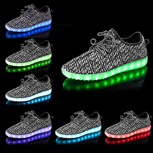 Shinmax LED Schuhe, 7 Farbe USB Aufladen LED Leuchtend Sport Schuhe Sportschuhe LED Sneaker Turnschuhe Für Unisex-Erwachsene Herren Damen mit CE-Zertifikat Schwarz