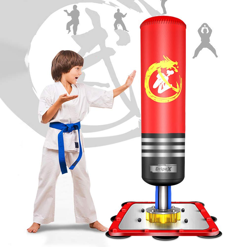 Dripex Freestanding Punching Bag - 47'' Kids Heavy Boxing Bag with Suction Cup Steel Base, Children Free Stand Kickboxing Bags Kick Punch Bag | Red by Dripex
