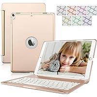 iPad 9.7 2017/2018 Tastiera Custodia, Alluminio Dingrich Custodia Bluetooth Wireless 7 LED Colore retroilluminazione per Apple iPad 9.7 2017/2018