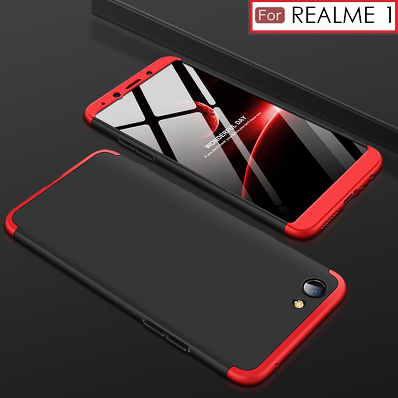 finest selection e5a2d a09ba WOW Imagine 3 in 1 Double Dip Case Anti Slip Super Slim Hybrid PC All Angle  Protection Lightweight Matte Premium Hard Back Cover for OPPO REALME 1 ...