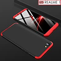 WOW Imagine Double Dip Anti Slip Super Slim Hard Hybrid PC All Angle Protection Lightweight Matte Back Cover for Oppo Real Me 1(Black and Red)