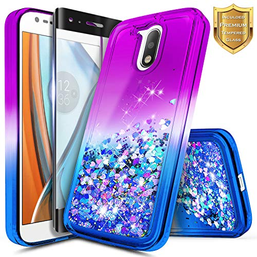 Moto G4 Case w/[Full Cover Tempered Glass Screen Protector], NageBee Glitter Liquid Quicksand Waterfall Floating Flowing Sparkle Shiny Bling Girls Cute Case for Motorola Moto G 4th Gen -Purple/Blue