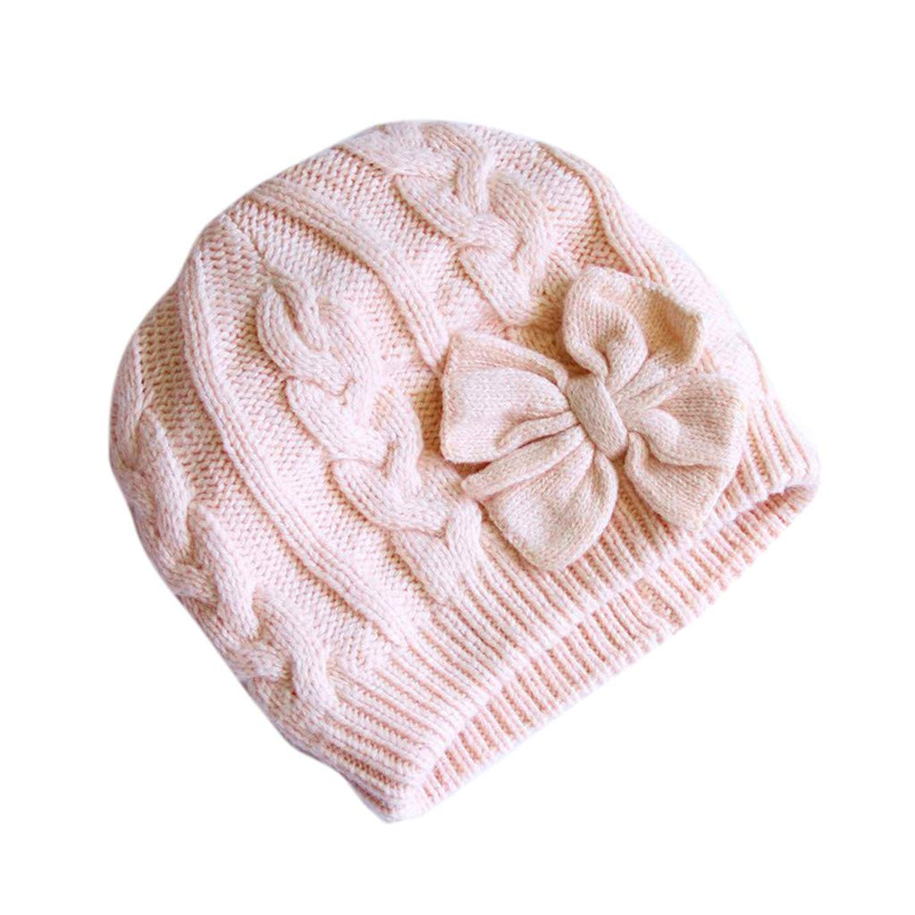 Baby Hats,Warm Knitted Baby Hat for Girls Cotton Lined Infant Toddler Girls Hat Autumn Cute Bow Classic Girls Beanie Jinjiums