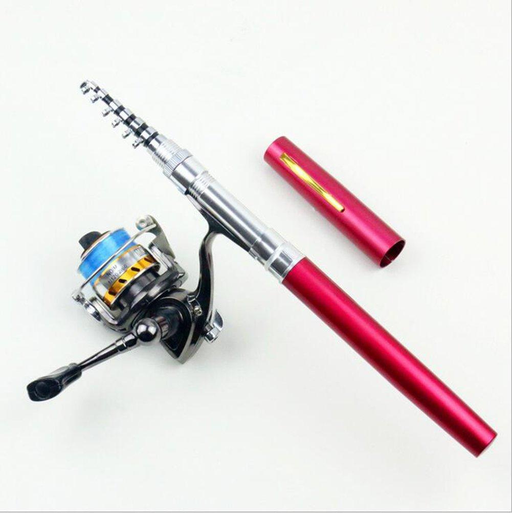Zffペン釣りロッドリールセット、1.6 mポータブルカーボン伸縮、釣りリール、ポケット釣りロッド釣りライン  レッド B07FMZSYLG