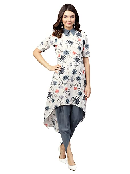 1dd18c2a7f57f Inddus Off White Moss Crepe Printed Fully Stitched Dhoti kurta Set   Amazon.in  Clothing   Accessories