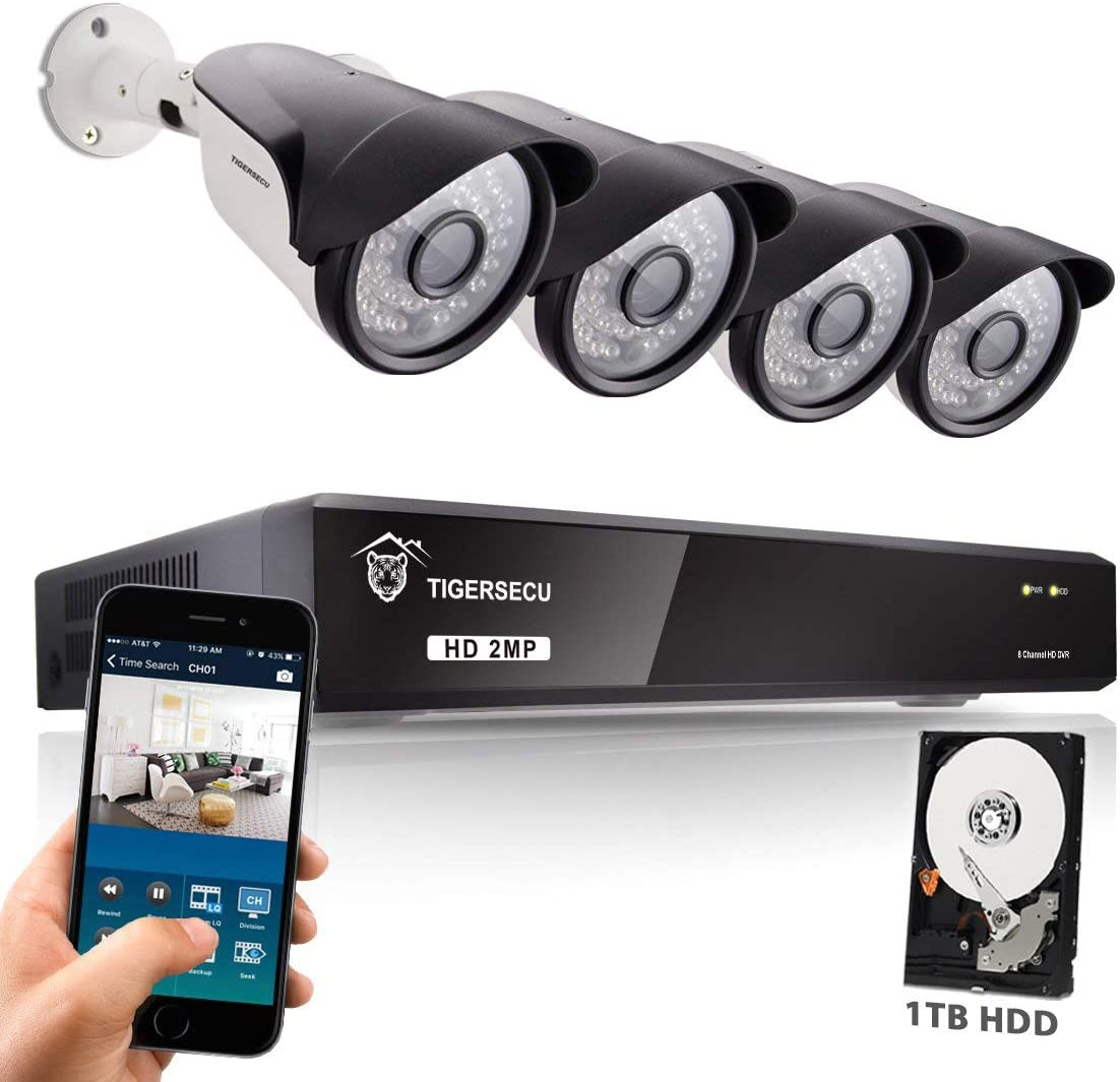 TIGERSECU Super HD 1080P H.265 8-Channel Security DVR Kit with 4 Cameras and 1TB Hard Drive, Supports Analog and ONVIF 2.0 IP Cameras Includes 4 Security Cameras