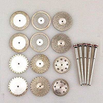 Airgoesin 12 Dental Diamond Polishing Wheel Saw Disc Cutter + 5 HP Shank Mandrel 2.35mm