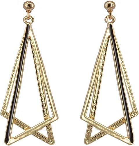 Boucles d/'oreilles Doré Geometrique Triangle Carré Resine Bleu Long Retro AA32