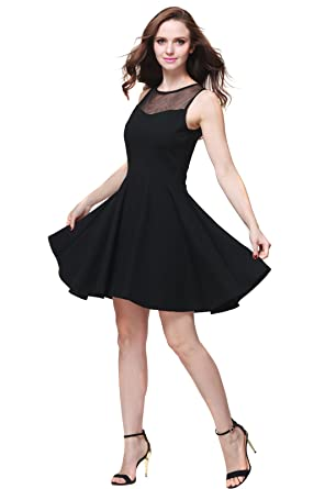 4dcc7af983 Buenos Ninos Women s Sleeveless Pleated Mesh Panel A-Line Short Flare Party  Dress Black S