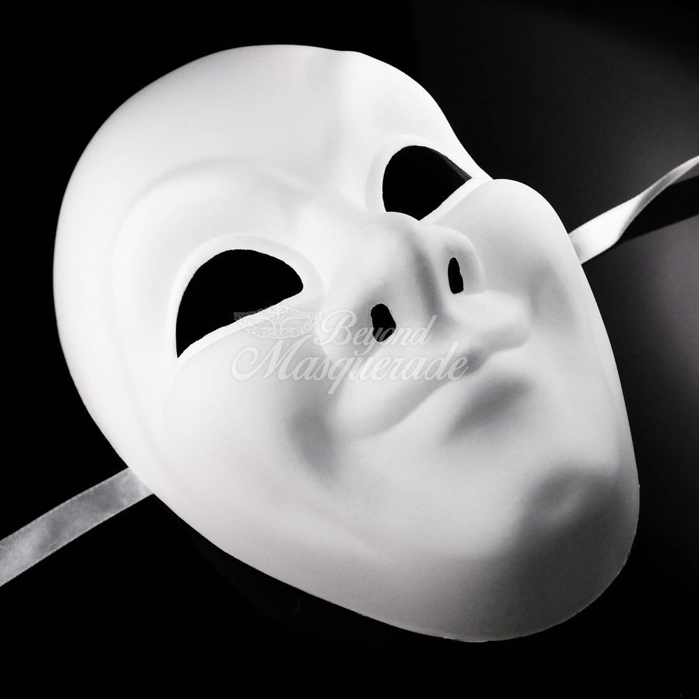 White Face Adult Mask Blank Male Mask Halloween Costume Unpainted Mask