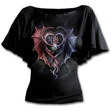 e4f44bc7c18e4 Amazon.com: Spiral - Womens - DRAGON HEART - Boat Neck Bat Sleeve ...