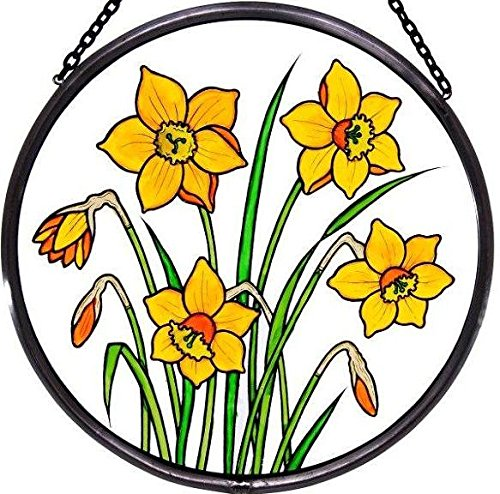 Decorative Hand Painted Stained Glass Window Sun Catcher/Roundel in a Daffodils Design.
