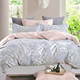 Essina Full / Queen Duvet Cover Set 3pc Rosetta Collection, 100% Cotton 620 thread count, Reversible Duvet Cover, Pillow Sham, Agoda