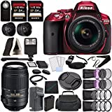 Nikon D5300 DSLR Camera with 18-55mm Lens (Red) + Nikon AF-S DX NIKKOR 55-300mm f/4.5-5.6G ED VR Lens + Battery + Charger + Sony 64GB UHS-I SDXC Memory Card (Class 10) + Flash Bundle