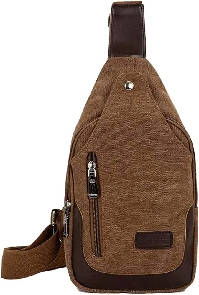 Small Sling Bag Men,Canvas Leather Anti Theft Women Bag,Crossbody Chest Side Bag
