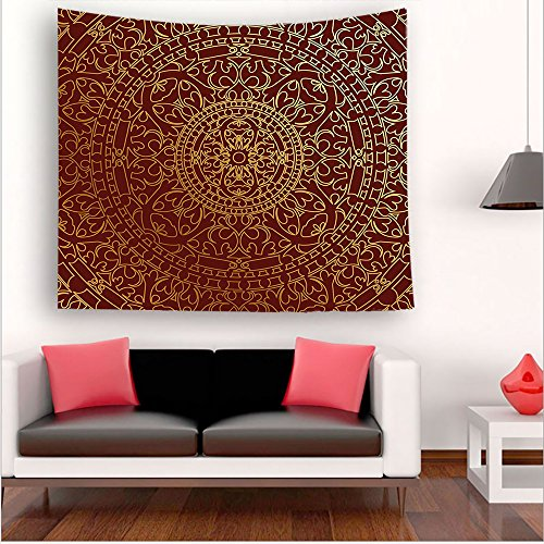 -Maroon Antique Arabic Artwork Oriental Mandala Inspired Round