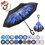 : ZOMAKE Double Layer Inverted Umbrella Cars Reverse Umbrella, UV Protection Windproof Large Straight Umbrella for Car Rain Outdoor With C-Shaped Handle(Blue Water Lily)