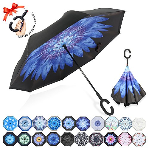 ZOMAKE Double Layer Inverted Umbrella Cars Reverse Umbrella, UV Protection Windproof Large Straight Umbrella for Car Rain Outdoor With C-Shaped Handle(Blue Water Lily) Blue Open Umbrella
